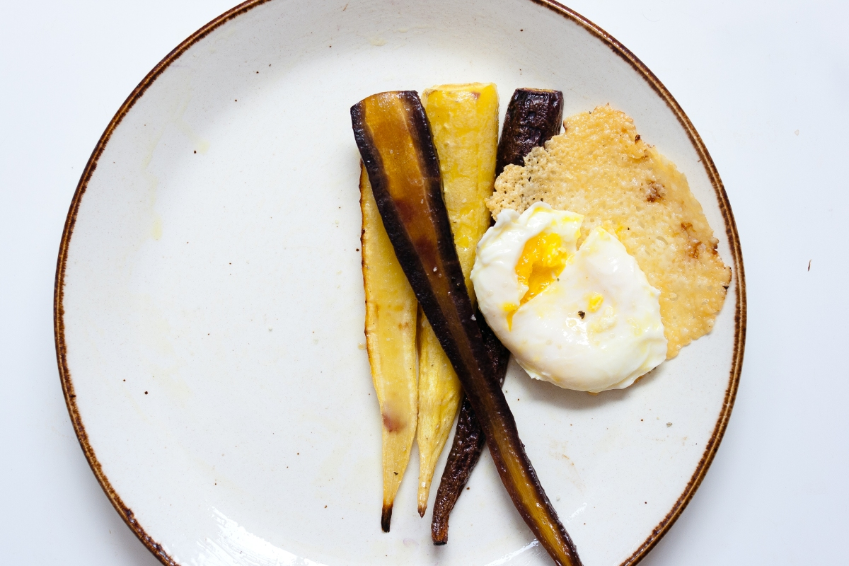 Roasted Rainbow Carrots with Poached Egg & Frico