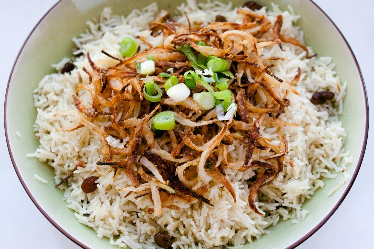 Easy Basmati Rice with Raisins and CrispyOnions